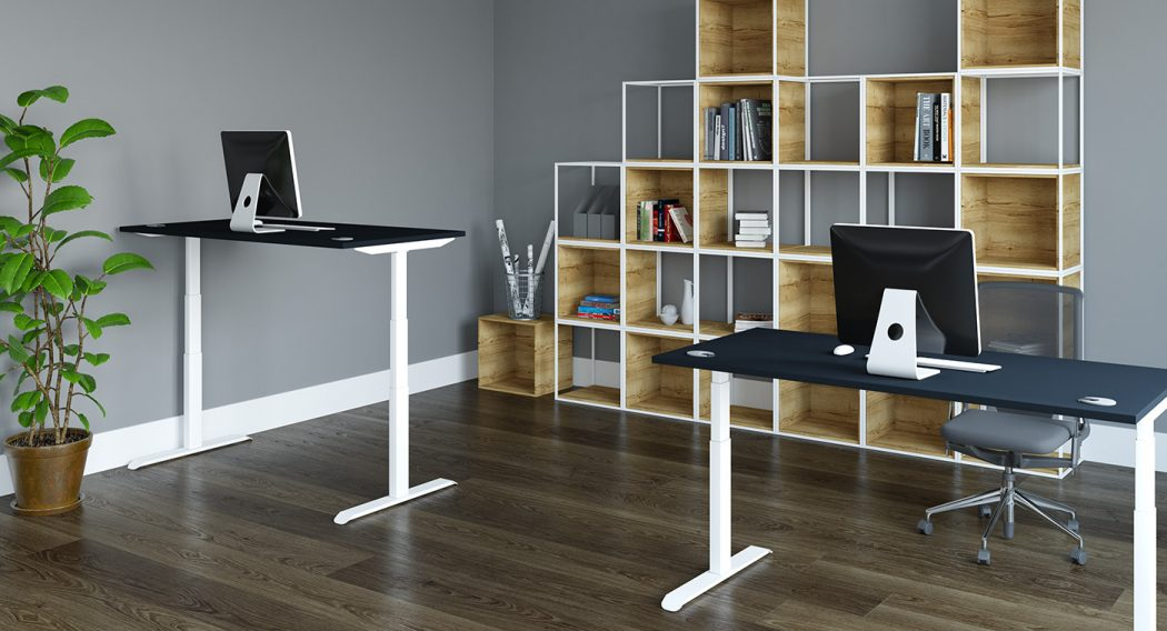 height adjustable, sit stand desk, office furniture, office interior, white frame, oak desk