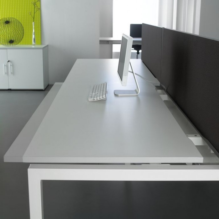 bench desking, modular desking,modesty panel, single desk, desktop screens, full width screen, sliding tops