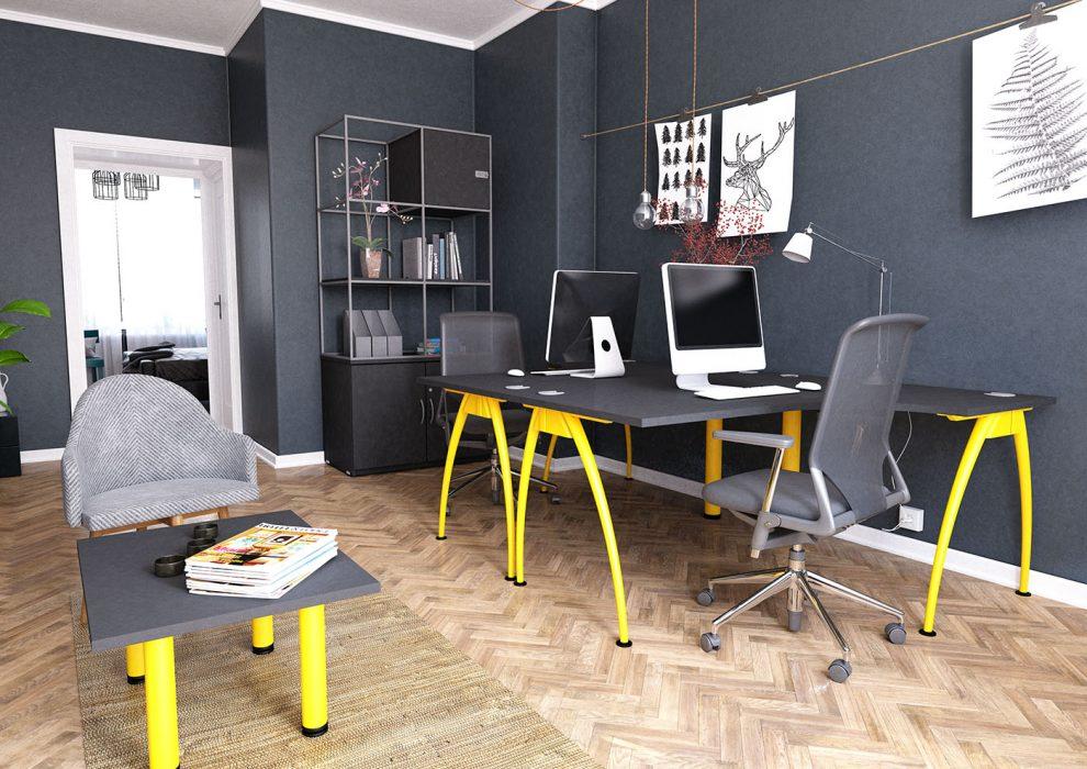 j shape, radial, power-coated frame, yellow metalwork, black desktop, A frame, executive desk, affordable office desking, office interior