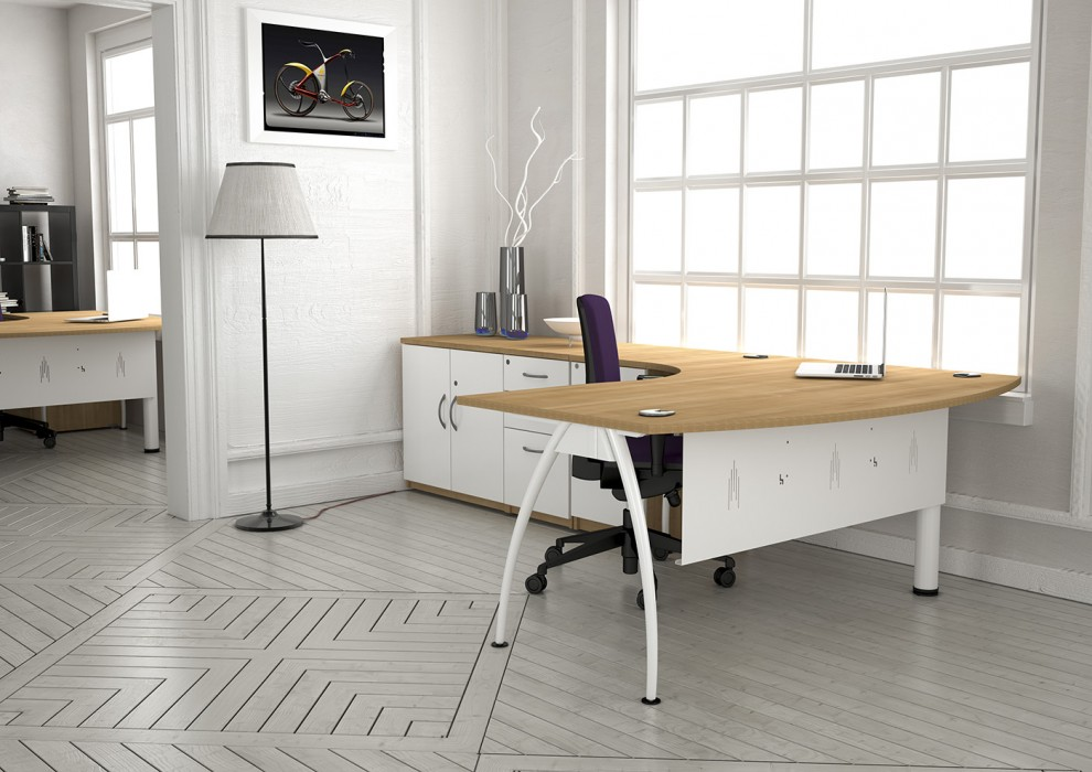 executive desk, bow front desk, modesty panel, white frame, A frame