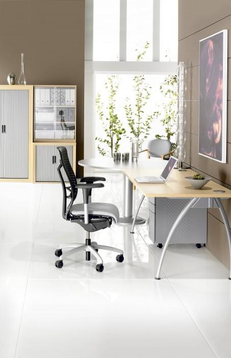 executive desk, rectangular desk, modesty panel, silver frame, A frame