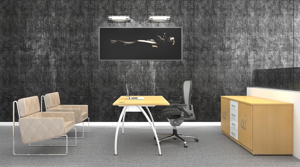 executive desk, rectangular desk, modesty panel, white frame, A frame