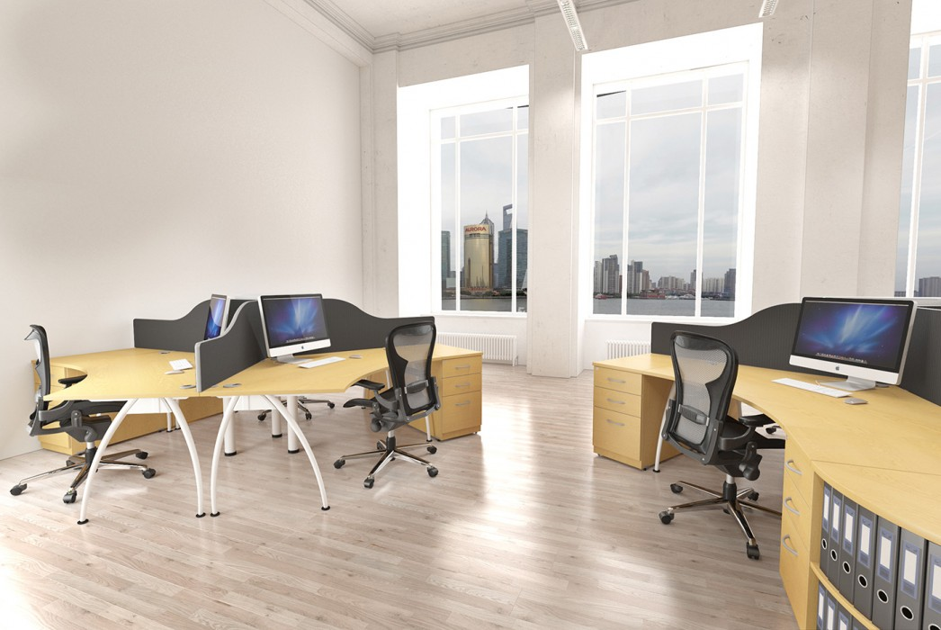 executive desk, core unit desk, core cluster, modesty panel, white frame, A frame