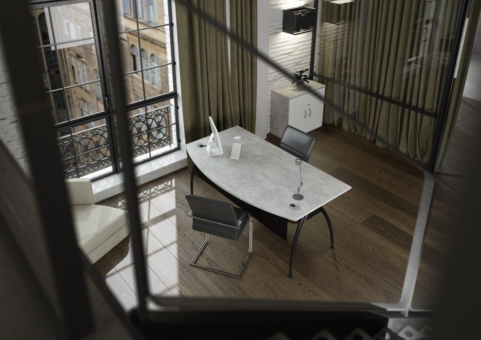 executive desk, bow front desk, modesty panel, black frame, A frame, concrete desktop