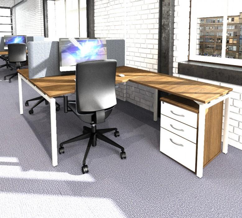 bench desking, modular desking,modesty panel, single desk, desktop screens, inset screen, return, under desk pedestal, office storage
