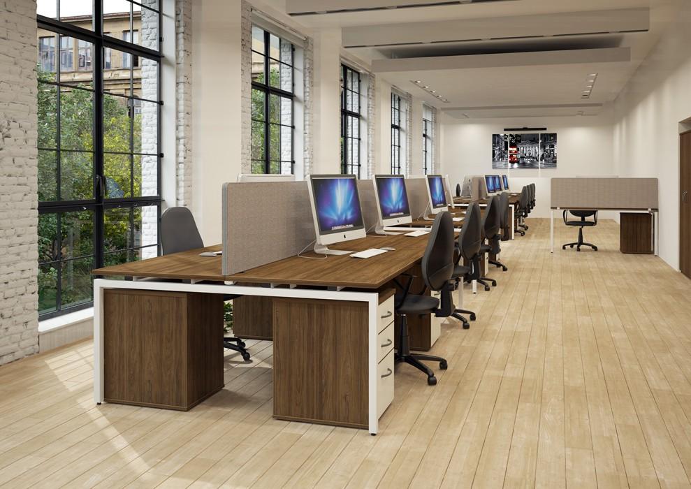 bench desking, modular desking,modesty panel, single desk, desktop screens, inset screen