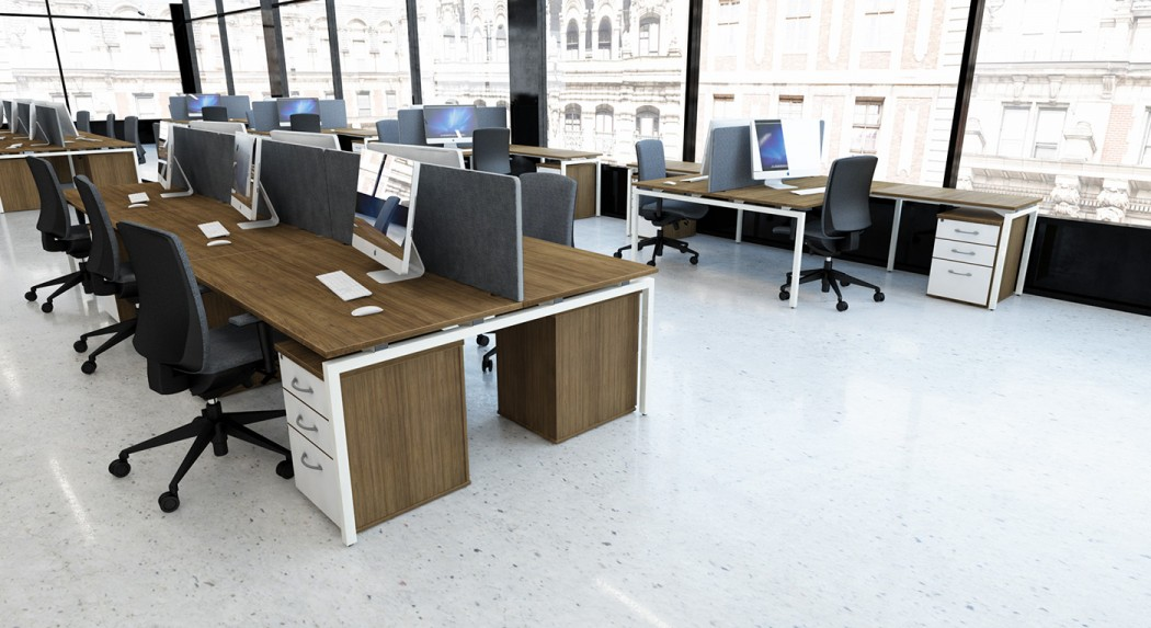 bench desking, modular desking,modesty panel, single desk, desktop screens, inset screen