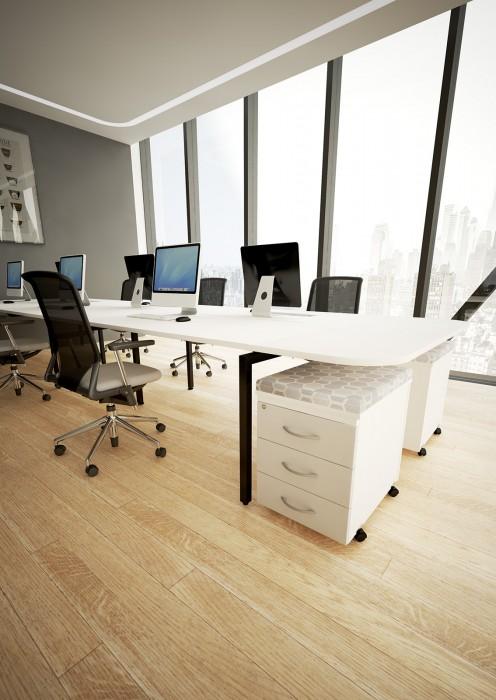 bench desking, modular desking,modesty panel, single desk, desktop screens, inset screen, extension, pedestals, seat pads