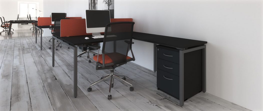 budget bench, cheap bench desk, bench desking, modular desking,modesty panel, single desk, desktop screens, inset screen