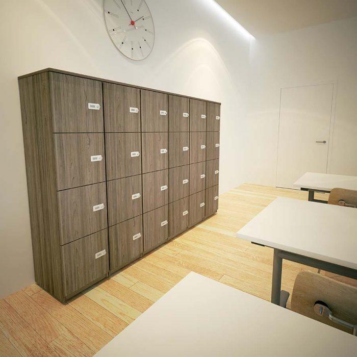 lockers, office storage, personal storage, combination lock, pull handle lock, swiss elm
