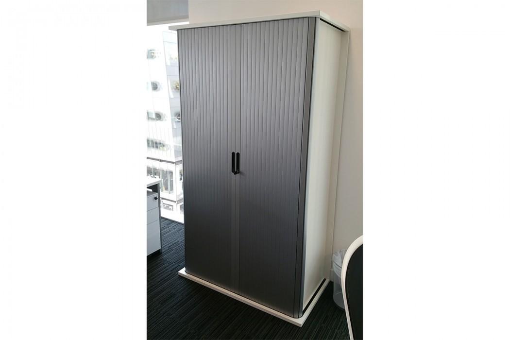 office storage, tambour, tambour doors, silver tambour
