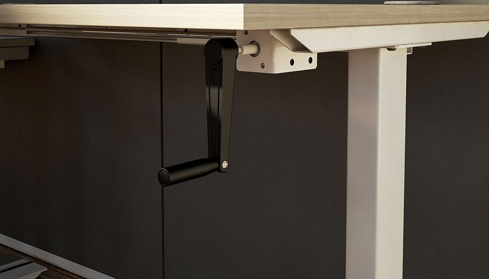 height adjustable, crank, manual height adjustment, crank handle, affordable height adjustable, environmentally friendly, environmentally conscious