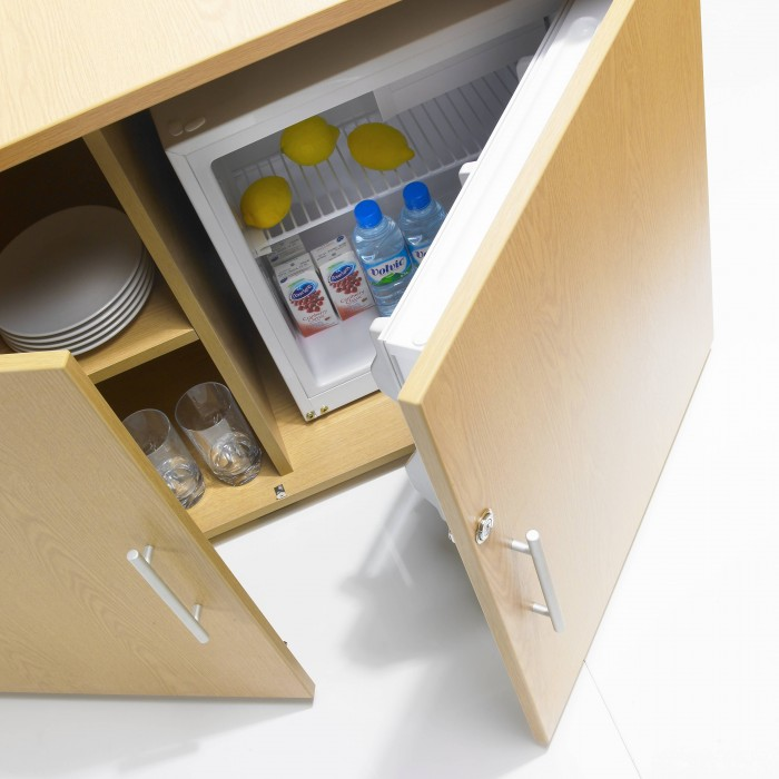 credenza, fridge, office storage