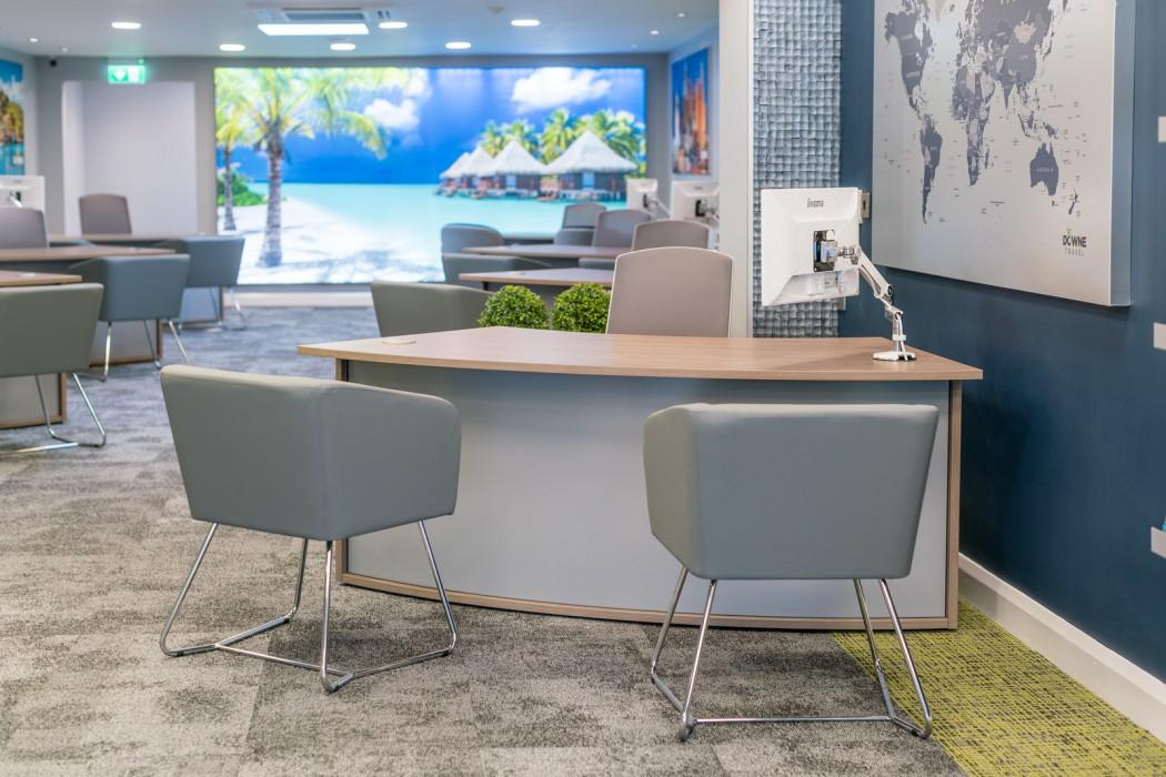 bespoke furniture, travel agent desk, reception desk