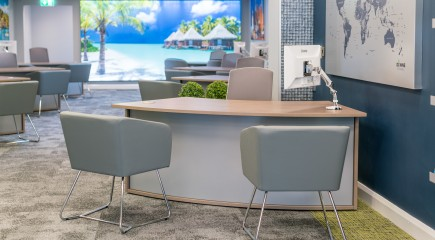 beskpoke furniture, reception desk, travel agent desk