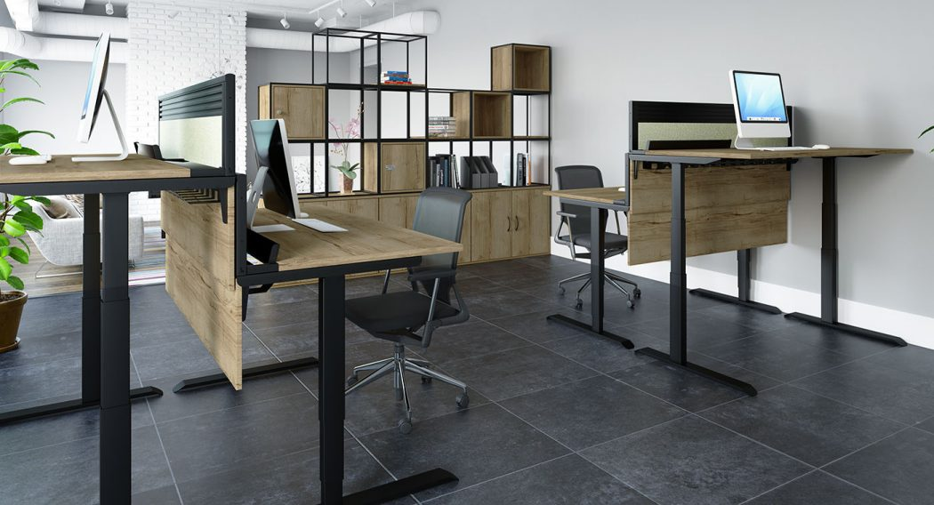 height adjustable, sit stand, modesty panel, toolbar screen, desktop screen, white frame, halifax oak desktop, cable tray, cable managment, office furniture