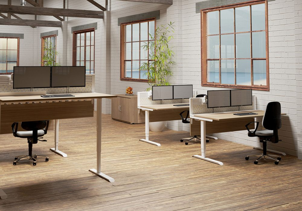 height adjustable, sit stand, modesty panel, toolbar screen, desktop screen, white frame, oak desktop, cable tray, cable managment, office furniture