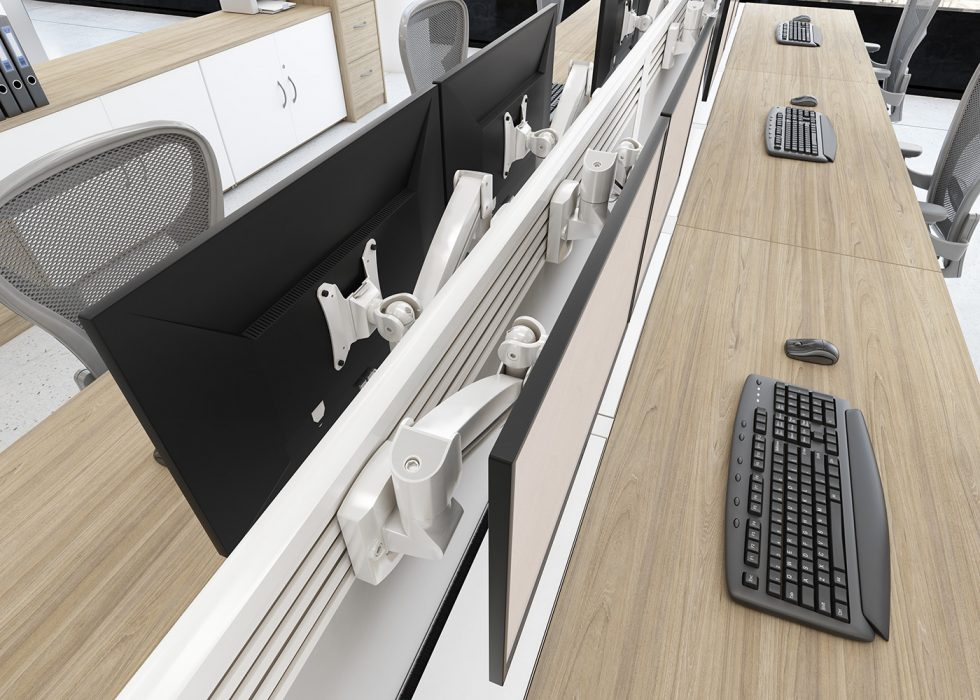 evolution desking, bench desk, double bench, return, toolbar screen