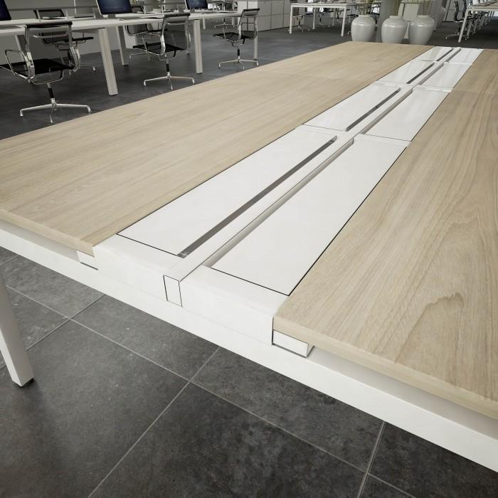 blanking bar, bench desking, no screen, double bench