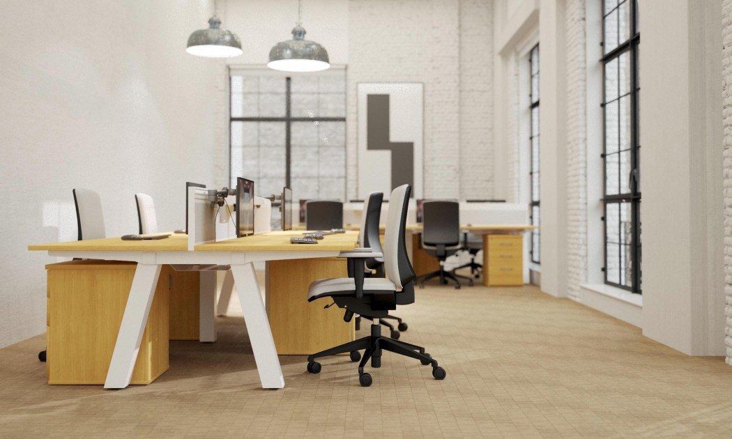 force bench, double bench, bench desking, office interior, office furniture, white frame