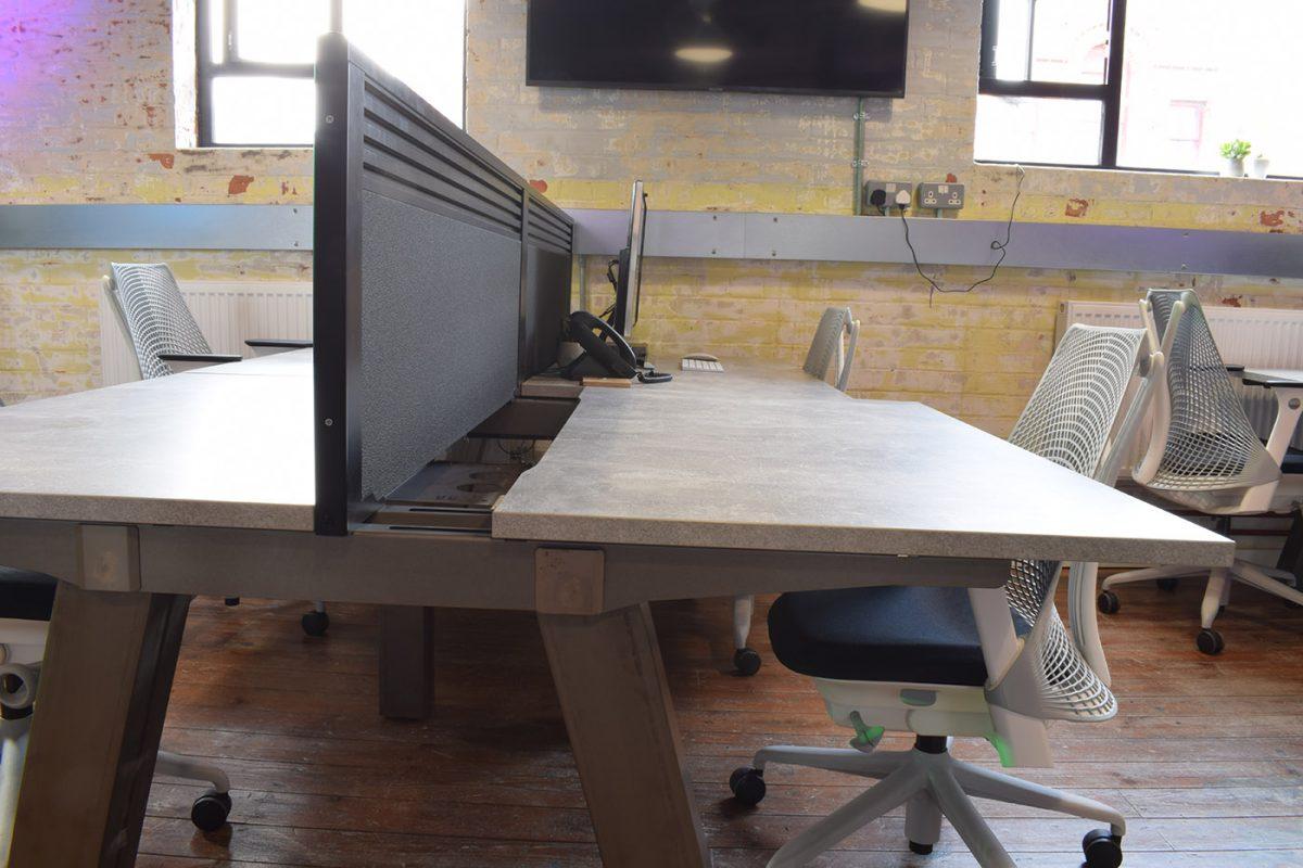 sliding tops, easy cable access, office bench desk, premium bench desk