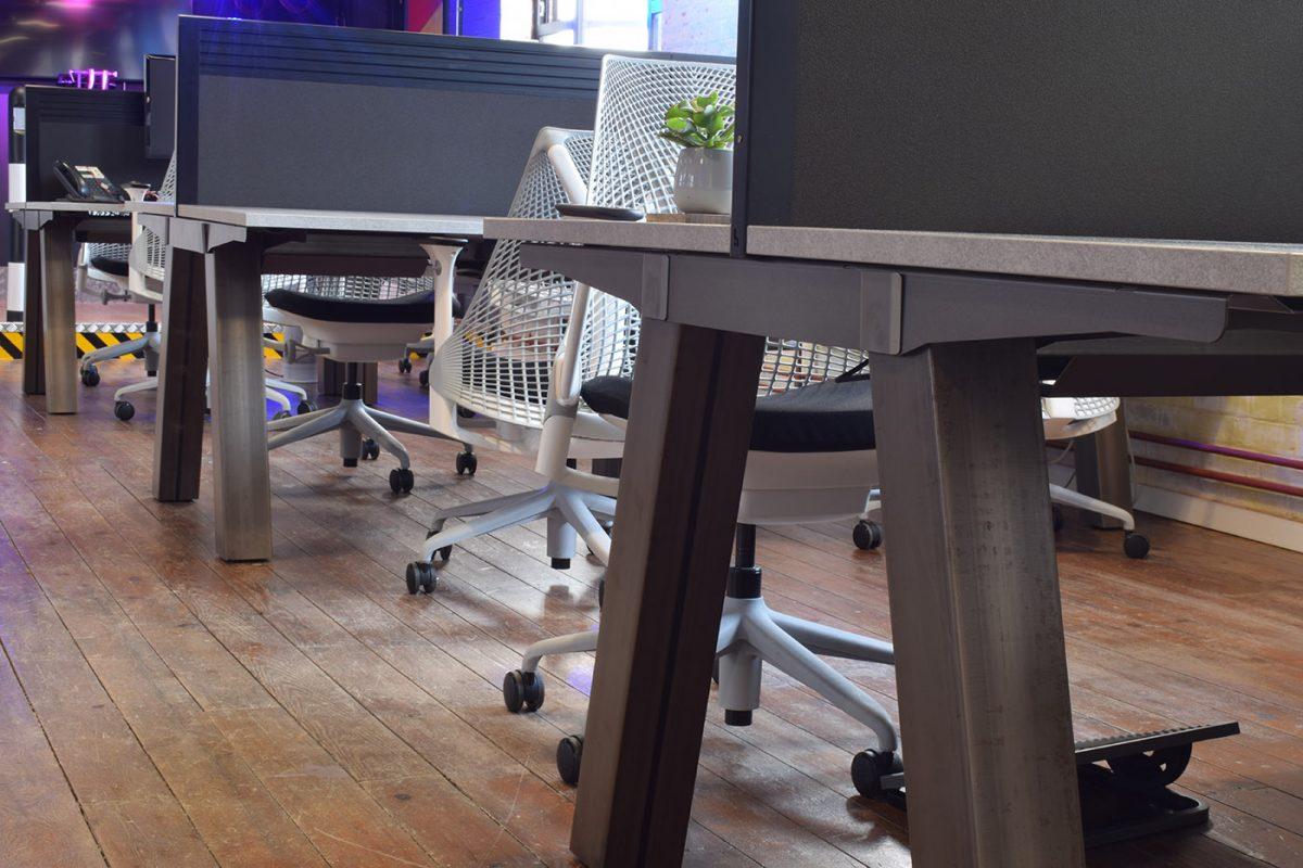 force bench, bench desking, premium bench desking, premium office desk, raw metalwork