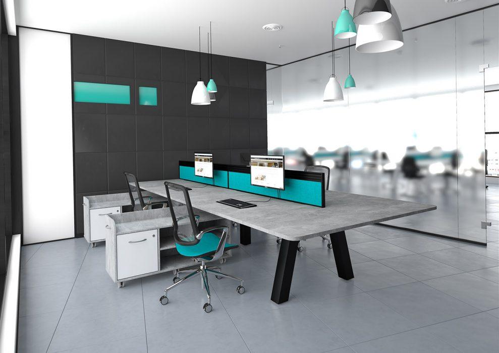 force bench, double bench, bench desking, office interior, office furniture, black frame, heavy duty, concrete desktop