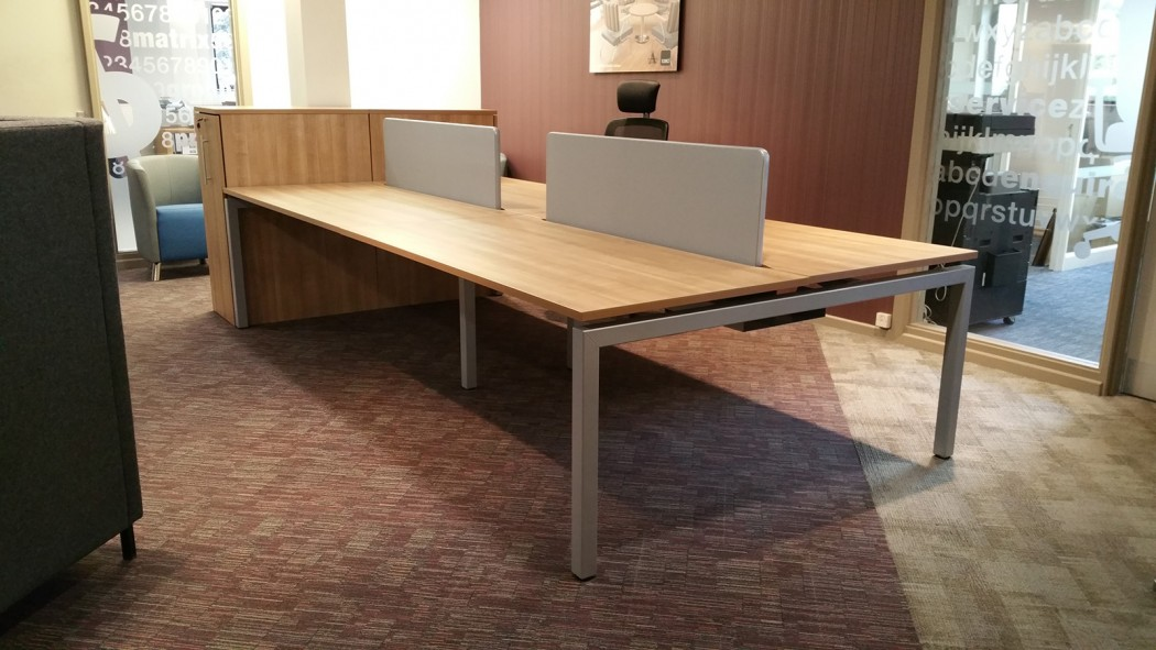 bench desking, modular desking, back-to-back, double bench, desktop screens, inset screen