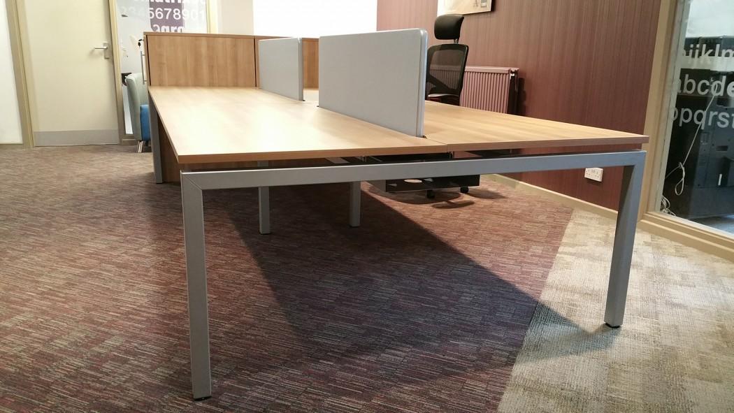 bench desking, modular desking, back-to-back, double bench, desktop screens, inset screen