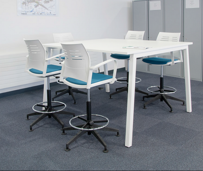 bespoke furniture, poseur meeting table, meeting table, collaborative table, white table