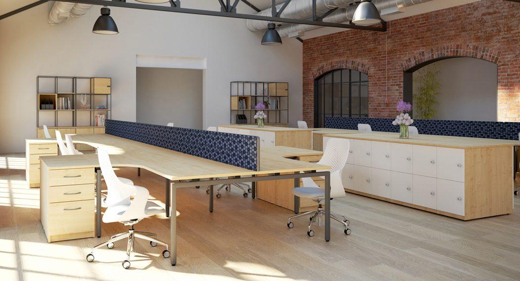 budget bench, cheap bench desk, bench desking, modular desking, double bench, desktop screens, inset screen, j shape, radial, lockers
