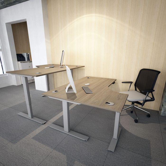 height adjustable, sit stand, silver frame, oak desktop, j shape, radial