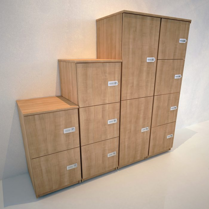 lockers, office storage, personal storage, combination lock, pull handle lock