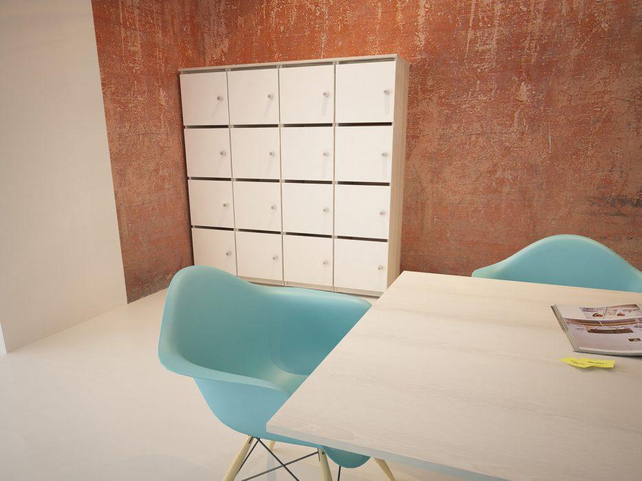 lockers, office storage, personal storage, combination lock, pull handle lock, oak carcass, white doors