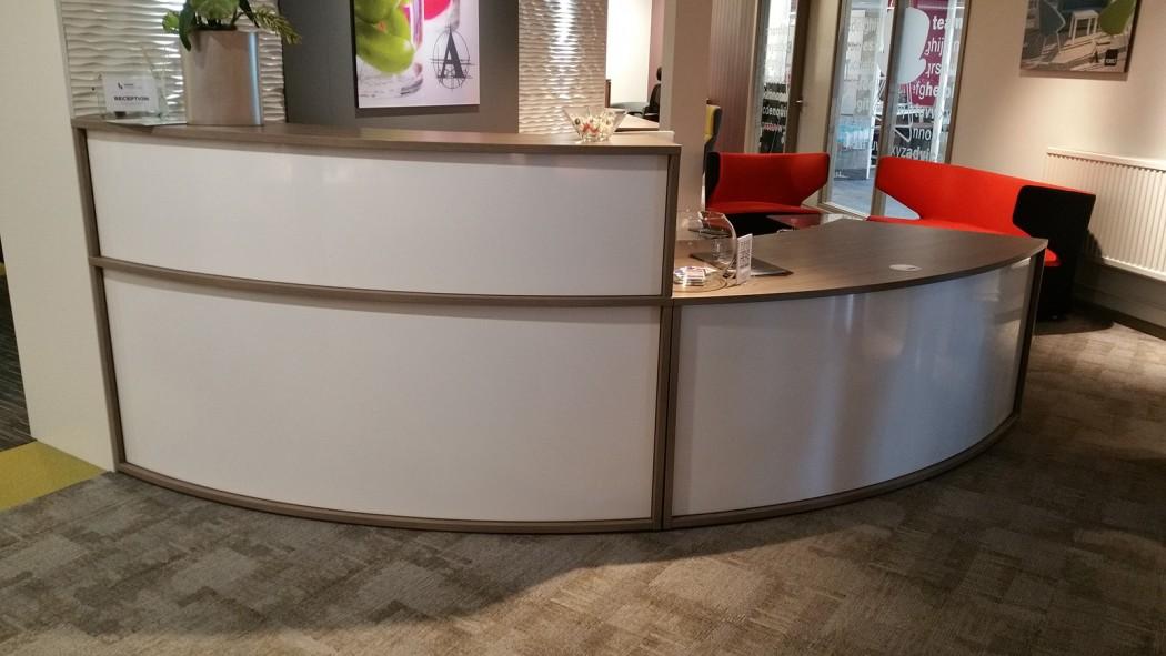 reception desk, reception top unit, white metal
