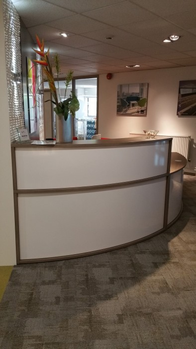 reception desk, reception top unit, white metal
