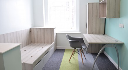 residential furniture, student accommodation furniture, classic ash, bologna, student desk, storage bed, top shelves, wardrobe