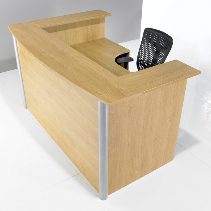j shape, reception desk