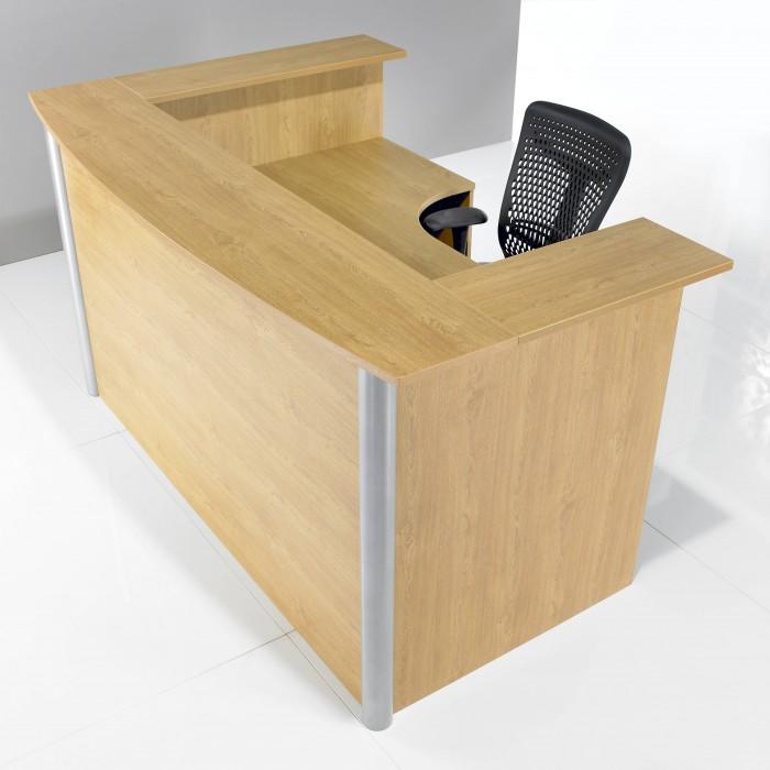 j shape, reception desk