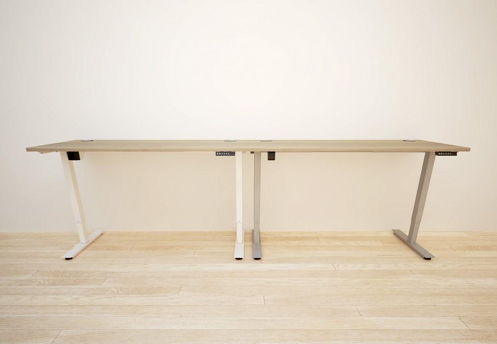 height adjustable, sit stand, white frame, grey desktop, double bench, back-to-back desk, dividing screen, cable management