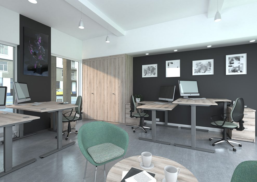 height adjustable, affordable desk, single desk, white frame, oak desktop, radial, j shape