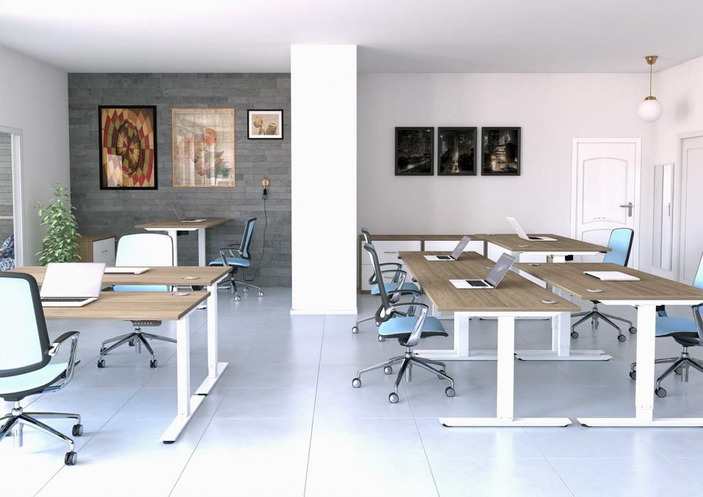 height adjustable, affordable desk, single desk, white frame, oak desktop