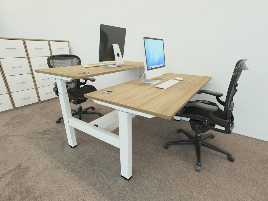 height adjustable, sit stand, white frame, grey desktop, double bench, back-to-back desk, dividing screen, cable management, affordable office desking