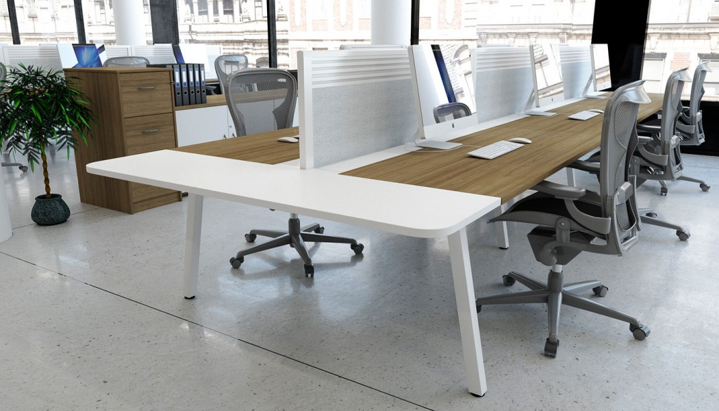 evolution desking, bench desk, double bench, return, toolbar screen