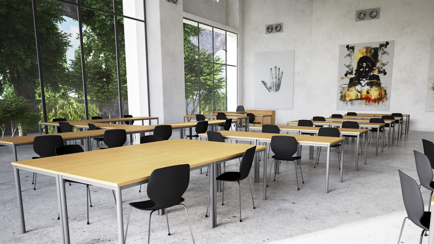 canteen tables, meeting tables, fully welded, metal leg, MFC desktop
