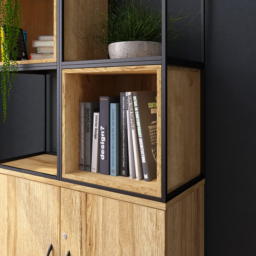 grid storage, alcove, box shelf, office storage, contemporary storage