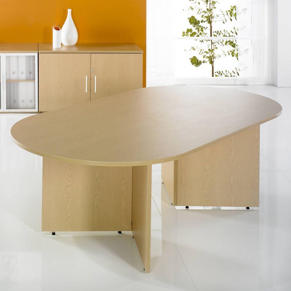 arrowhead table, d end table, panel end, maple, MFC