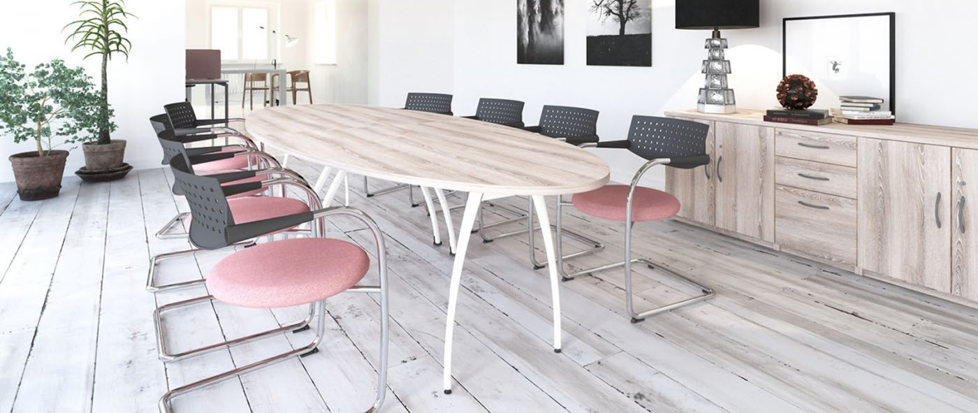 oval table, boardroom table, meeting table, classic ash, white frame, MFC