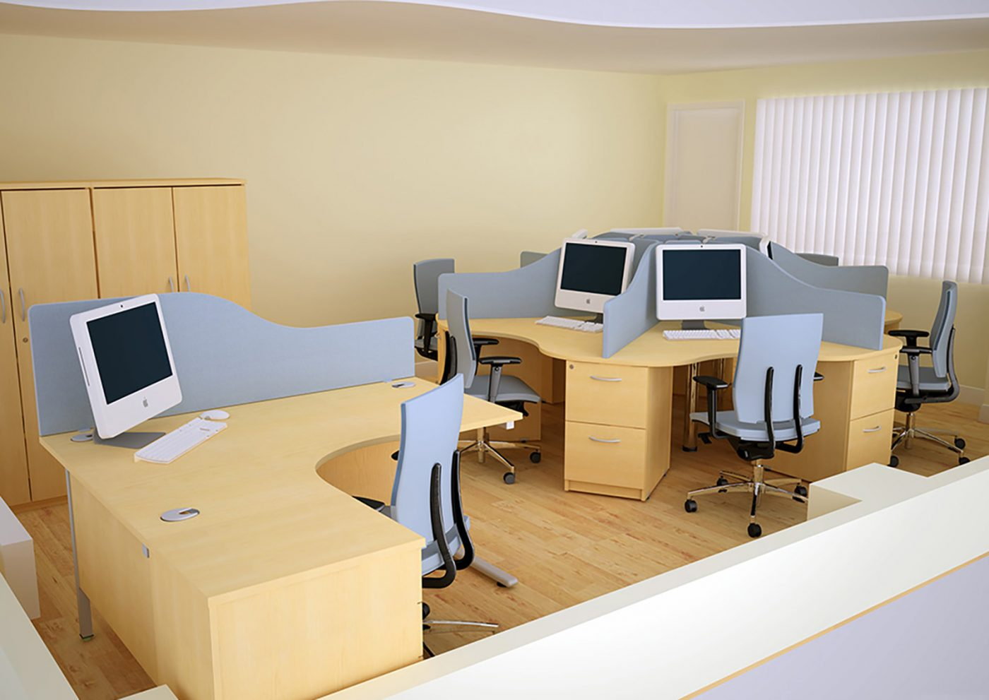 call centre furniture, core units, j shape desk, desktop screen, MFC