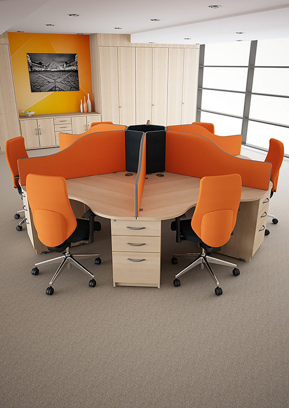 call centre, core unit, desktop screen, under desk ped, office furniture, call centre furniture